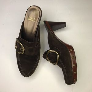 STUART WEITZMAN Brown Suede Studded Buckle Clogs